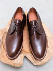 Alden Three Eyelet Blucher 'Dutton' in Dark Brown Alpine Grain
