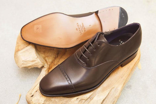 Carmina Shoemaker Quarter Brogue in Dark Brown Calf