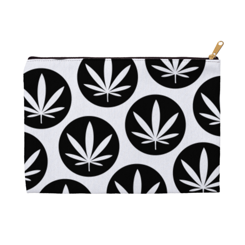 Leaf Dot Pouch - Black and white