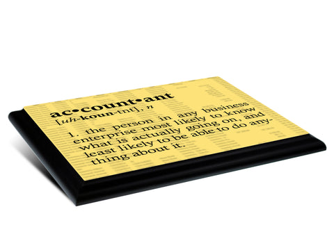 Accountant Definition Typography  Wood Wall Plaque