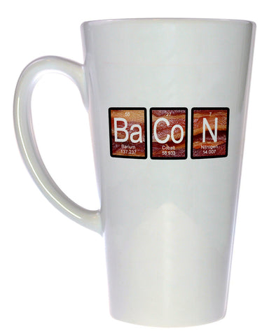 Bacon on Bacon Mug - Periodic Table Chemistry Elements, Latte Size
