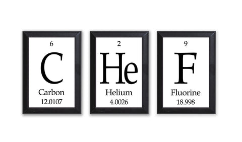 Chef Periodic Table Framed 3 Piece Wall Plaque Set - Geeky Home Decor