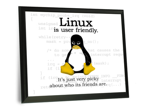 Linux Is User Friendly Typography Wall Plaque