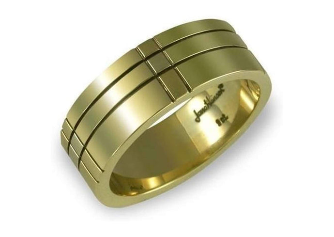 Golden Grooved Wedding band   - Jens Hansen