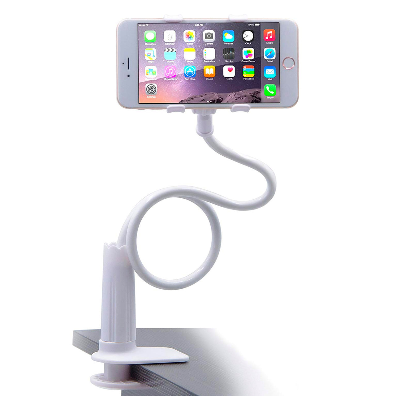 Influencer phone mount, connects to counter top or desktop.  Great gift idea by Thingamabobs