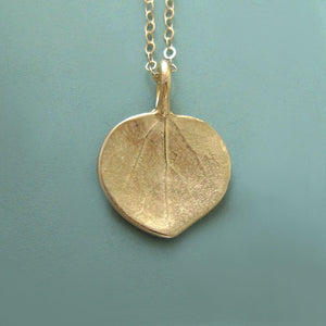 Tiny Aspen Leaf Necklace in 14k Gold
