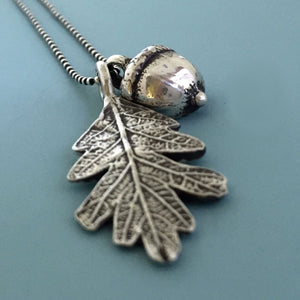 Sterling Silver Acorn and Oak Leaf Necklace