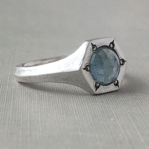 Rose Cut Moss Aquamarine Rustic Hexagonal Signet Ring in Sterling Silver