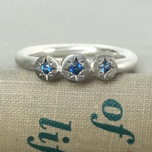 Three Stone Sapphire Star Ring in Sterling Silver and 14k Palladium White Gold