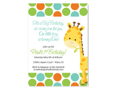 Polka Dot and Giraffe Birthday Party / Baby Shower Custom Invitation