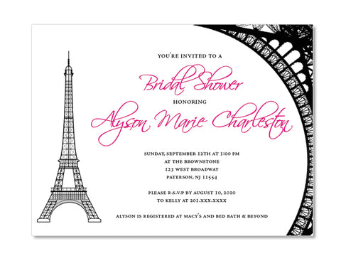 Eiffel Tower Themed Bridal Shower Invitations