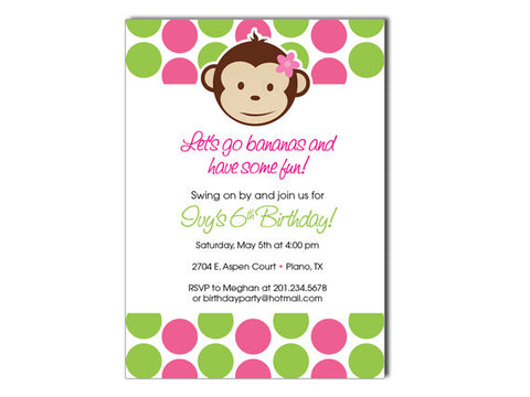 Mod Monkey Invitations