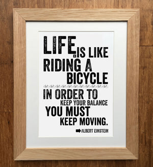 Keep Moving Einstein Cycling Print
