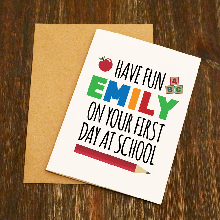 Personalised On Your First Day At School Card