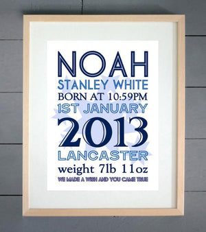 EllieBeanPrints Starburst Personalised Birth Print Boys