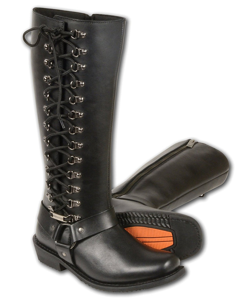 Milwaukee Leather Women's Tall Boots with Side Lacing