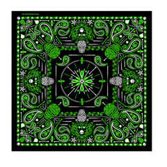 Hot Leathers Green Paisley Skulls Bandana
