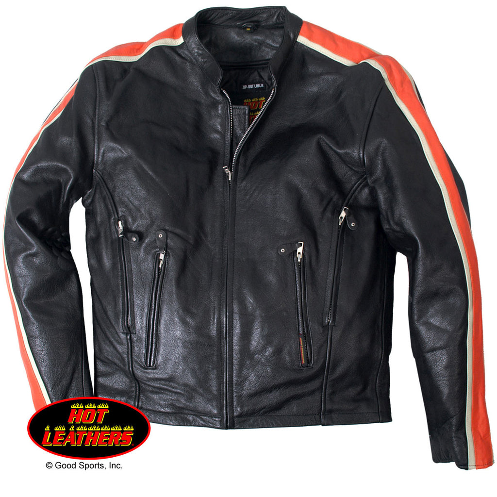 Men's Leather Jacket with Orange & Cream Arm Stripes