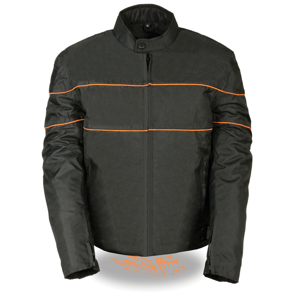 Milwaukee Leather Men's Scooter Style Textile Jacket w/ Orange Stripes