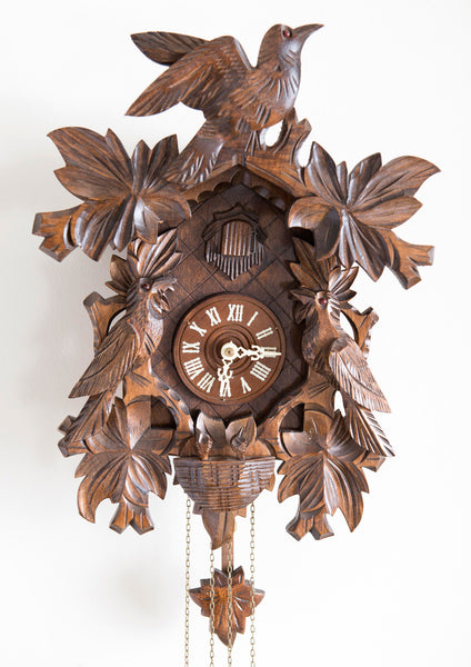 Black Forest Wood Carved Cuckoo Clock with Birds in Nest