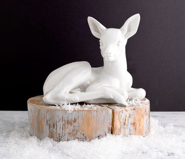 white porcelain deer figurine