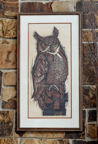 Great Horned Owl Woodcut
