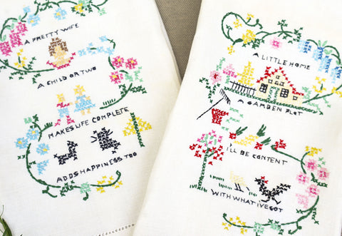 Vintage hand embroidered linen hand towels with poem