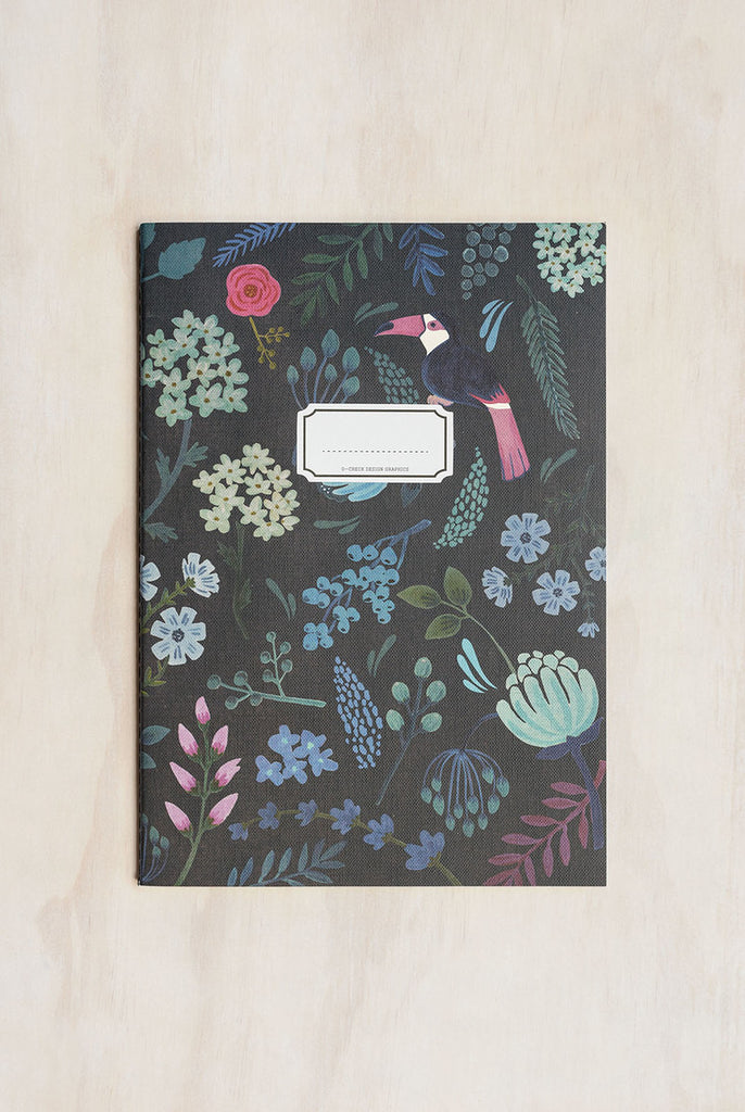 O-CHECK DESIGN GRAPHICS - CAHIER NOTEBOOK - RULED - LARGE - GARDEN BLACK - Pens...Paper...Ink