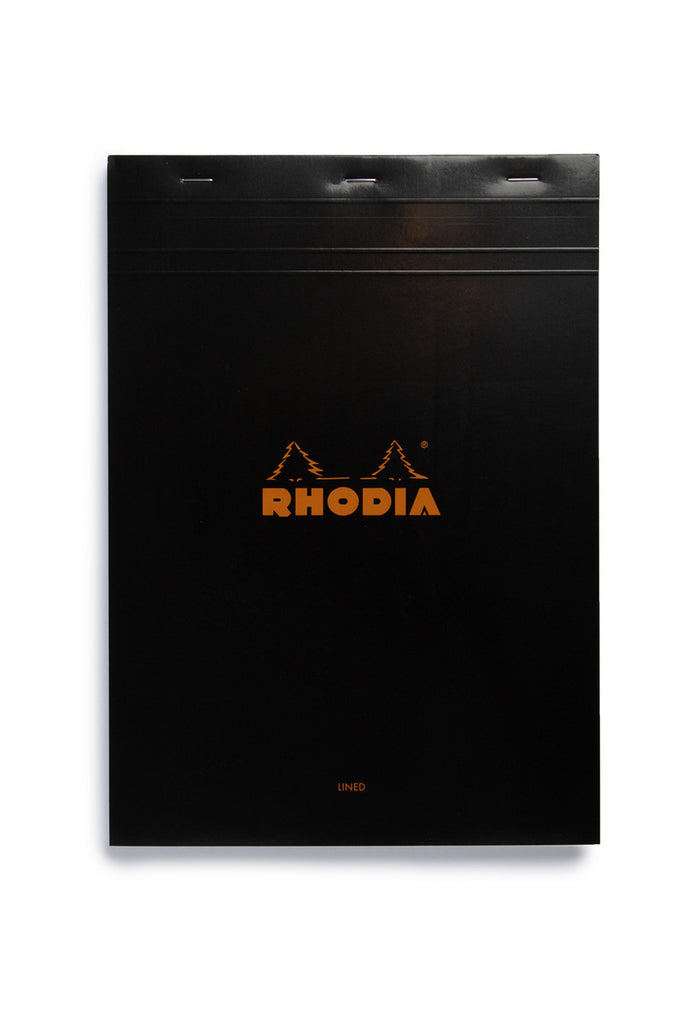 RHODIA - PAD #18 - TOP STAPLED - RULED + MARGIN - A4 - BLACK - Pens...Paper...Ink