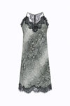 The Python Print Racerback Silk Dress in grey python.