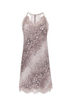 The Python Print Racerback Silk Dress in muted rose python.