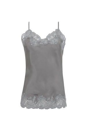 The Marilyn Lace Silk Cami in steeple grey with ice grey lace.