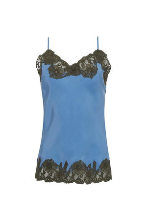 The Marilyn Lace Silk Cami in soft violet with olive lace.
