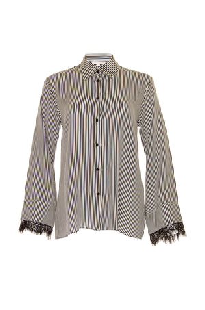 The Stripe Lace Long Sleeve Shirt in black.