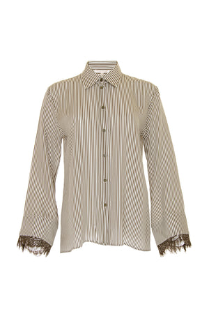 The Stripe Lace Long Sleeve Shirt in olive.