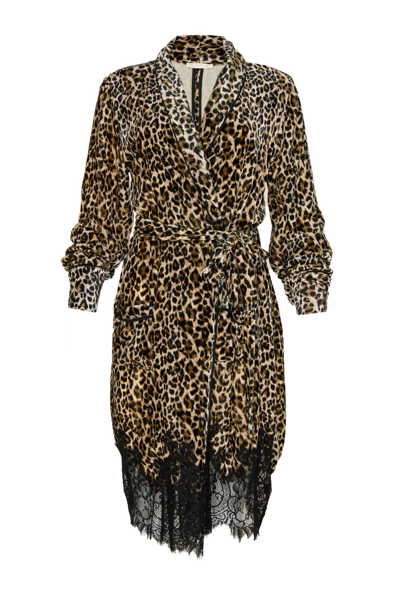 The Animal Print Velvet Ginger Duster in mocca leopard print.