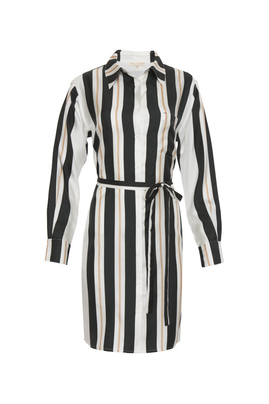 The Bold Stripe Sleeve Dress in black, with matching thin sash around the waist.