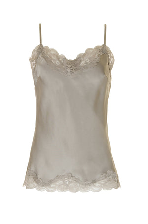 The Floral Lace Silk Cami in pewter.