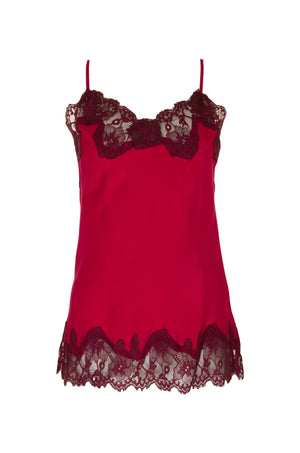 The Marilyn Lace Silk Cami in fuchsia with burgundy lace.