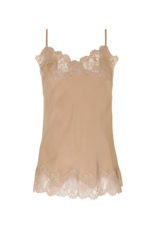 The Marilyn Lace Silk Cami in sand with nude crystal lace.