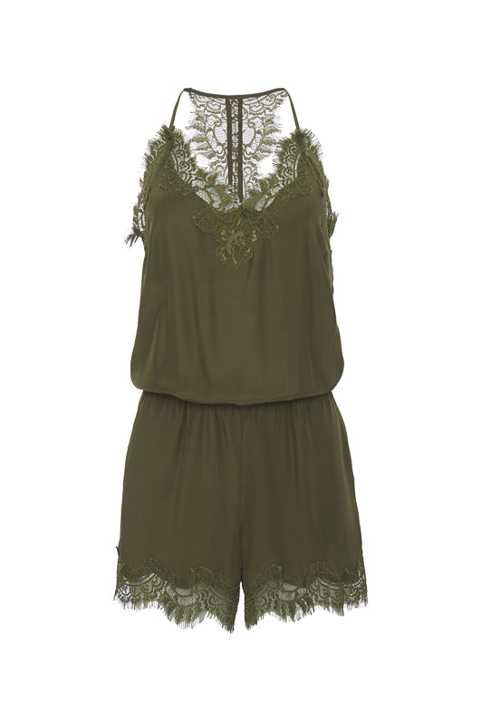 The Coco Lace Romper in dark olive.