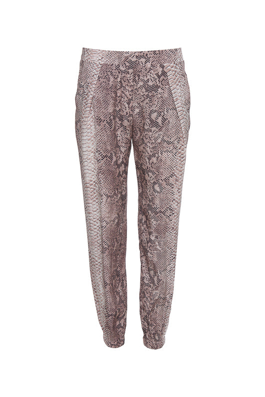 The Python Print Pant in muted rose python.