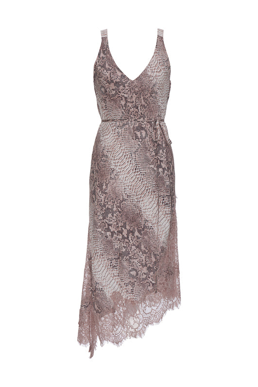 The Python Coco Dress in muted rose python. Shown with matching sash used as belt.