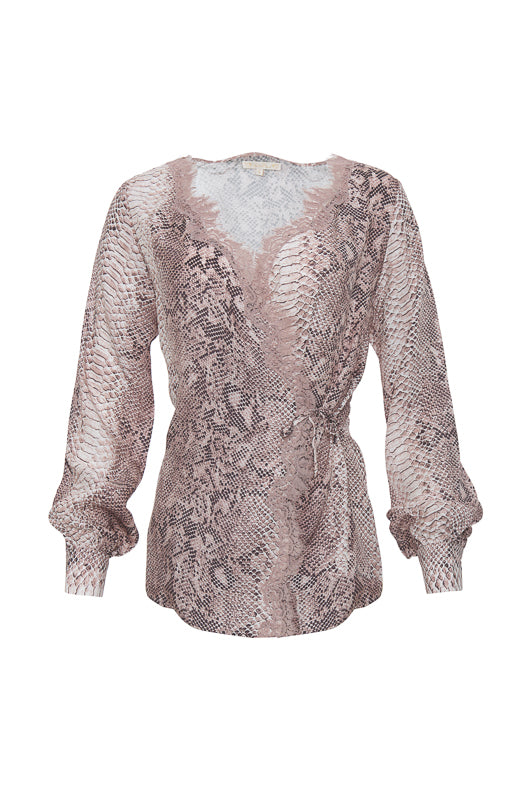 The Python Wrap Top in muted rose python.