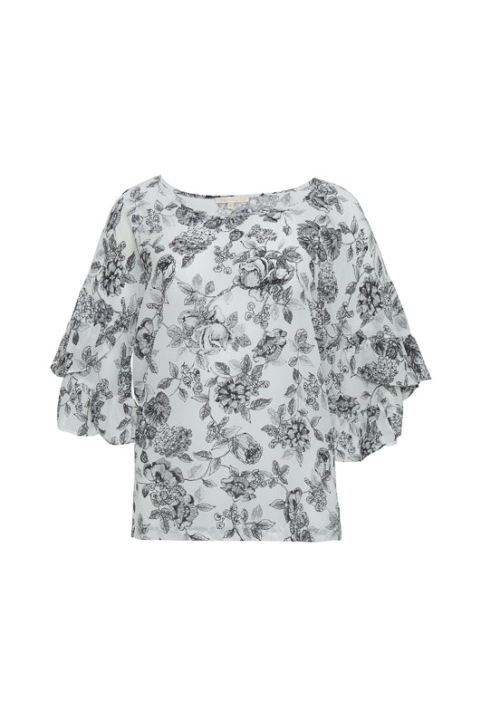 The Provence Ruffle Sleeve Tee in black provence toile.