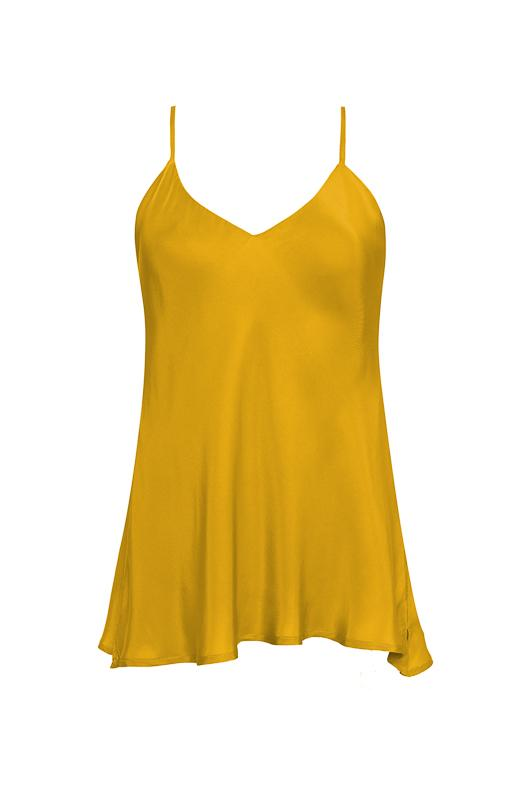 The Double Silk Solid Cami in gold.