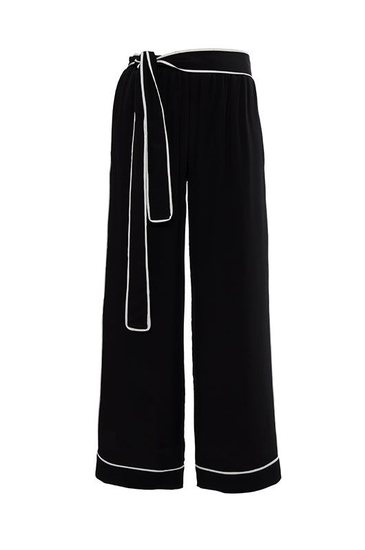 The Wide Leg Silk Pants in black with white piping.