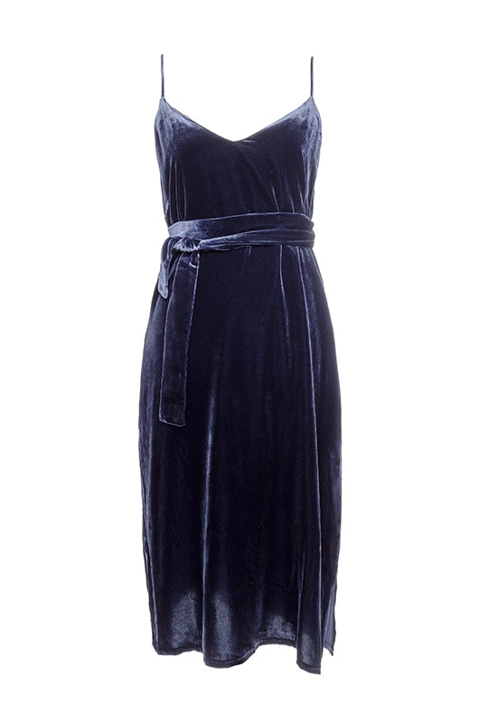 The Susan Velvet Self-Tie Dress in navy.