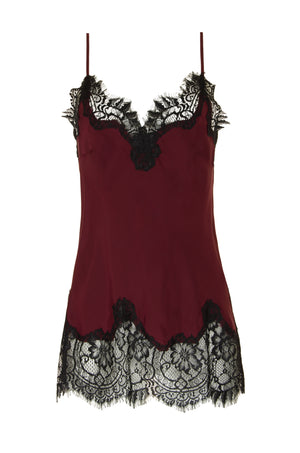 The Coco Lace Silk Cami in burgundy with black lace.