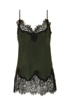 The Coco Lace Silk Cami in duffel green with black lace.